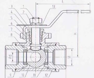 Кран шаровой КШН-М-3L