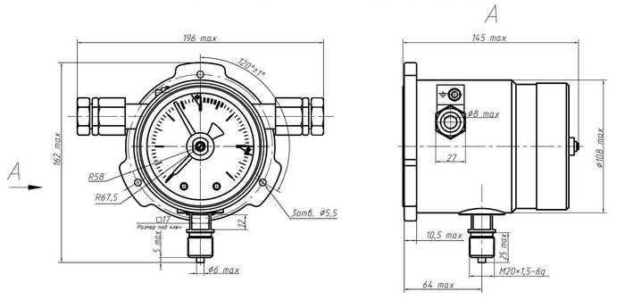 Габаритные размеры манометров ДМ5012СгВн, ДВ5012СгВн, ДА5012СгВн