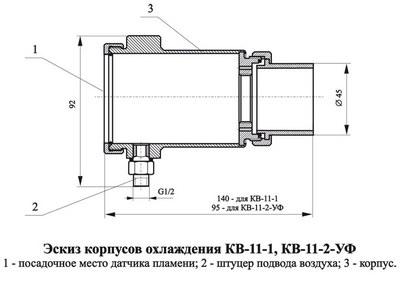 Корпус охлаждения КВ-11 для датчиков пламени СЛ-90
