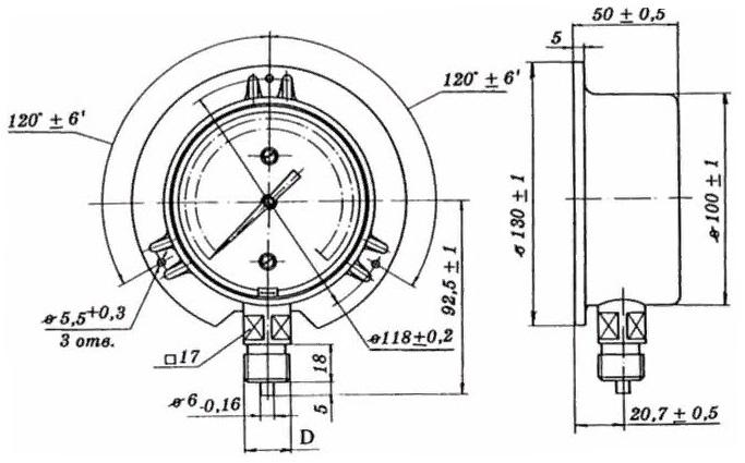 МТК манометры, вакуумметры и мановакууметры c бортом