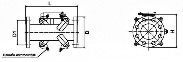 Габариты. Счетчик-расходомер двухлучевой ВИРС-У.