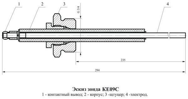 Чертеж зонда КЕ09С
