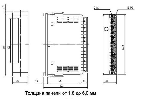 Габаритные размеры индикатора барграфического DT