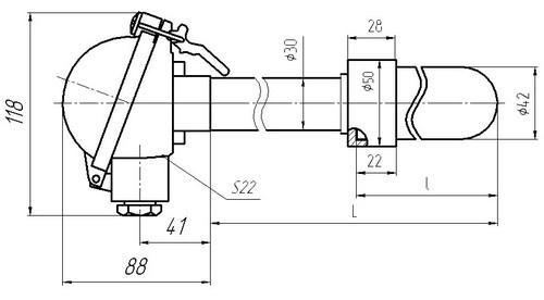 Габаритные размеры термопар ТПП-, ТПР-0192-16