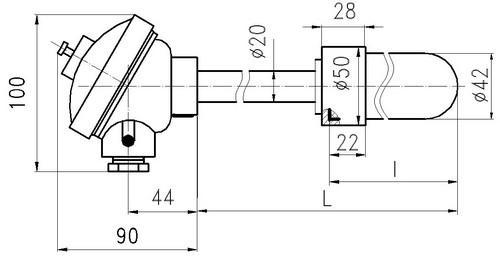 Габаритные размеры термопар ТПП-, ТПР-0192-16М