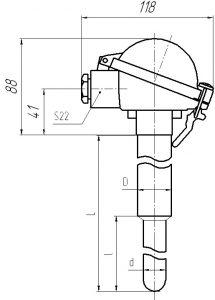 Габаритные размеры термопары ТПР-0292