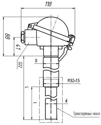 Габаритные размеры термопары ТПР-0492