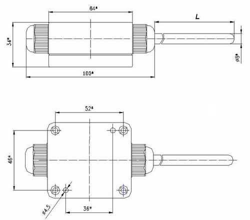 Размеры термометра сопротивления ТСМ-0193М, ТСП-0193М