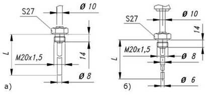 Габаритные размеры термометров сопротивления ТСМ/ТСП-0595-01, -02