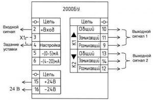 Схема внешних подключений блока 2000БУ-220В
