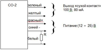 Схема внешних соединений сигнализатора уровня осадка СО-2