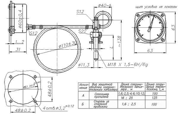 Габаритные размеры термометра ТКП-60/3М2