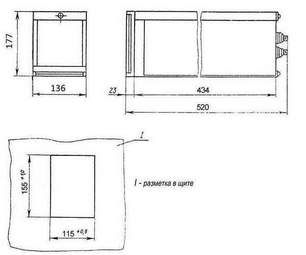 Габаритные размеры устройств УМС3, УМС4