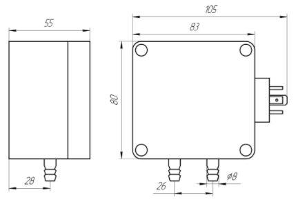 Габаритные размеры датчиков дифференциального давления ЗОНД-20-ДД-К7