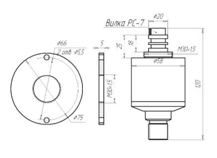 Габаритные размеры датчика уровня ЗОНД-20-ГД-К10 (преобразователя давления)