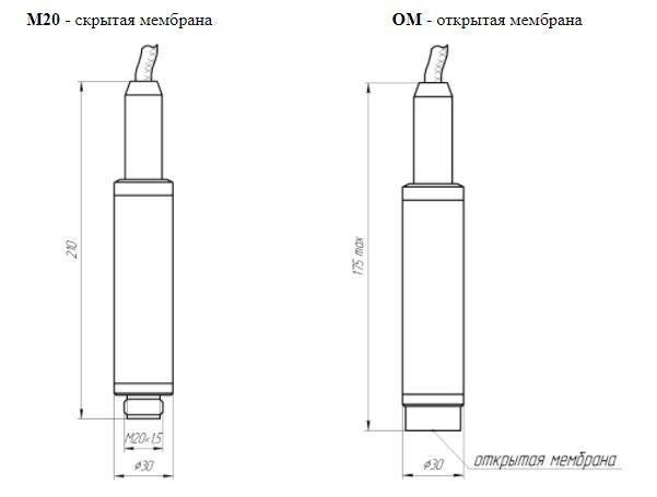 Варианты присоединения к процессу датчика ЗОНД-20-ГД-К9