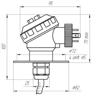 Габаритные размеры датчика давления/уровня ЗОНД-20-ГД-К9
