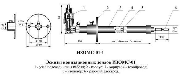 Чертеж зонда ионизационного ИЗОМС01