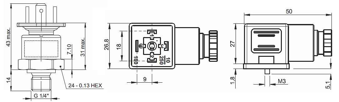 датчик давления P1A - габаритные размеры