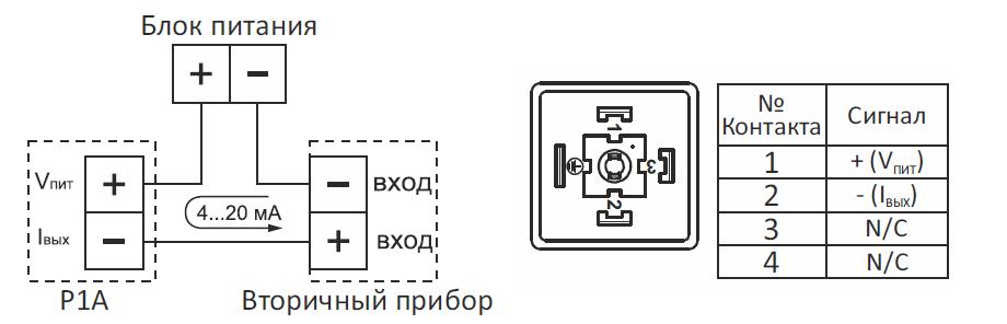P1A датчик давления Р1А схема подключения
