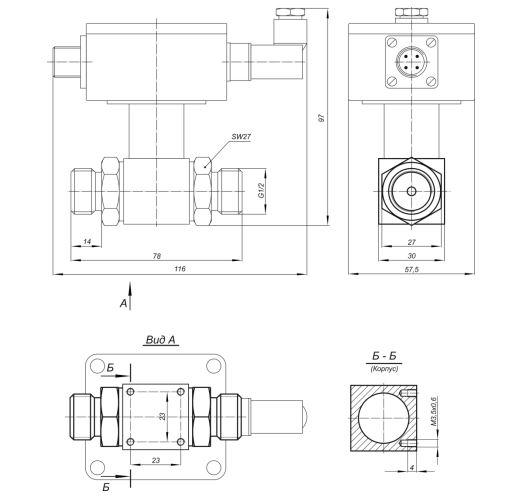 Габаритные размеры реле перепада давления Корунд-ДДН-001Р-425