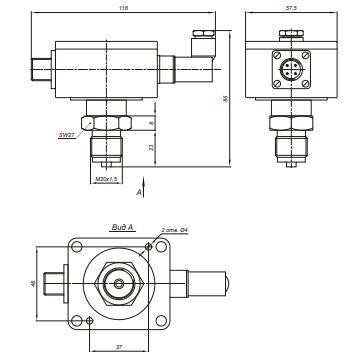 Габаритные размеры реле давления Корунд-ДИ/ДР/ДИВ-001Р-325