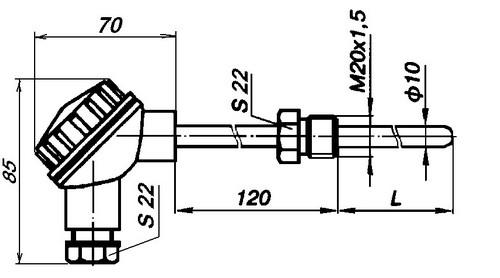 Габаритные размеры комплекта термометров сопротивления КТСМ-0193, КТСП-0193