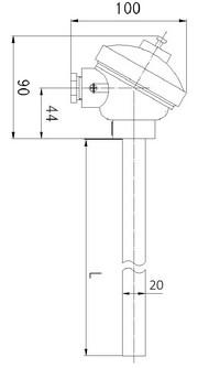 Габаритные размеры термопары ТПП-, ТПР-0192-09,-10