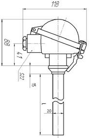 Габаритные размеры термопары ТПП-, ТПР-0192-14,-15