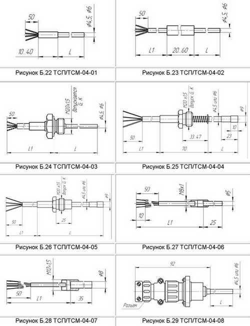Габаритные размеры термопреобразователей сопротивления ТСМ-04, ТСП-04