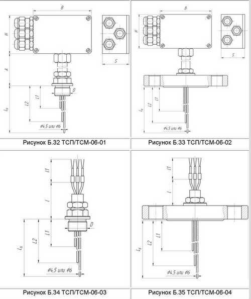 Габаритные размеры многозонных термометров сопротивления ТСМ-, ТСП-06-01, -02, -03, -04
