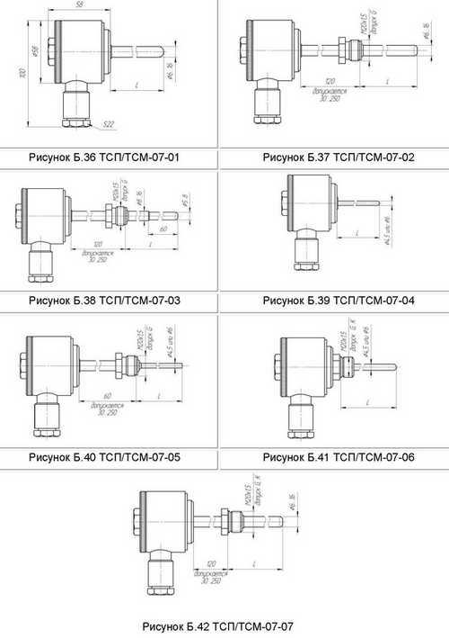 Габаритные размеры термометров сопротивления ТСМ-07, ТСП-07