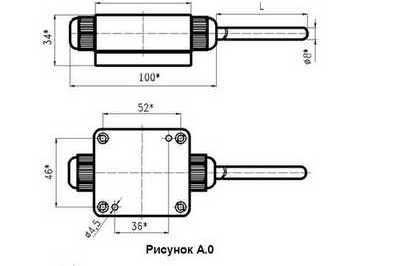Габаритные размеры термометров сопротивления ТСМУ-, ТСПУ-2205, -3205
