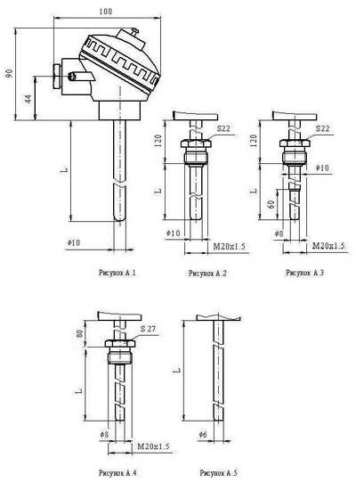 Габаритные размеры термопреобразователей ТСМУ-Л, ТСПУ-Л, ТХАУ-Л
