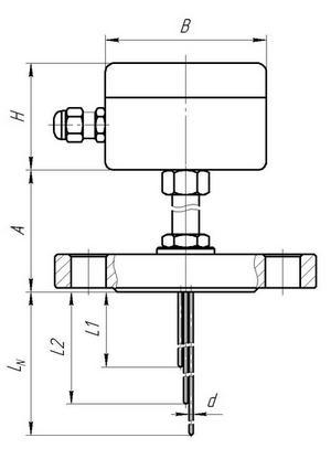 Габаритные размеры термопреобразователей ТП-, ТР-Е-10 с фланцем
