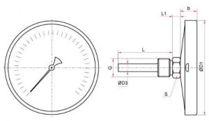 БТ-51-220, БТ-71-220 термометр исполнение Т