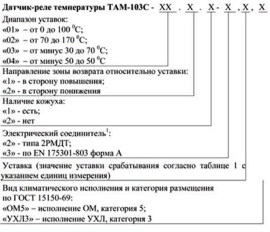 Форма. Реле температуры ТАМ-103С