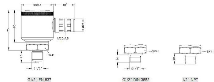 Габаритные размеры-1 датчиков DMK-456