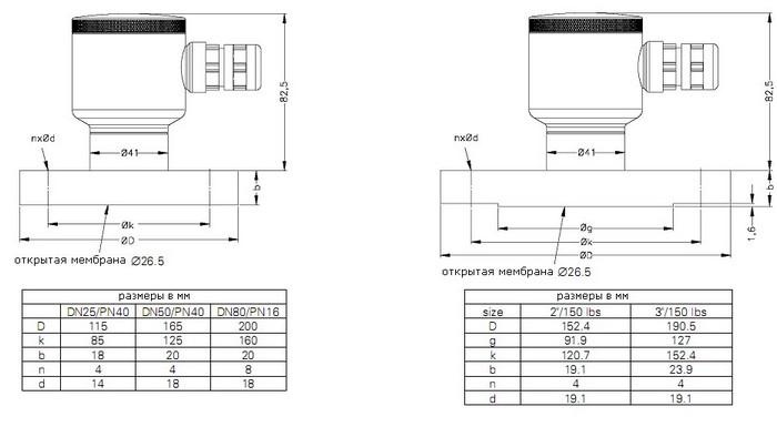 Габаритные размеры-2 датчиков DMK-456