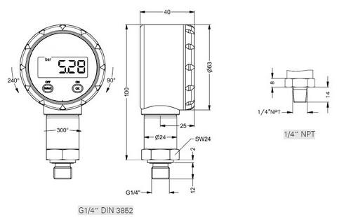 Габаритные размеры манометра DM-10