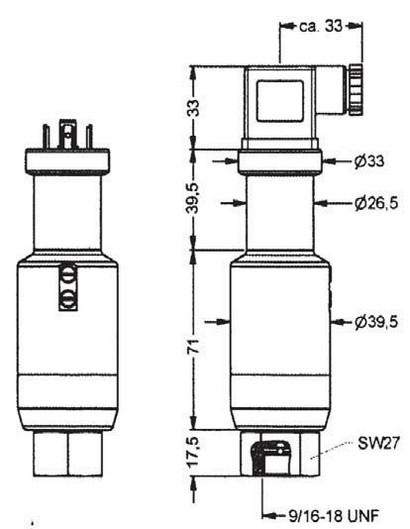 Габаритные размеры преобразователя DMP-304, 9/16-18 UNF внутренняя резьба