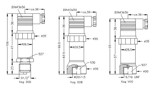 Габаритные размеры датчиков DMP-334