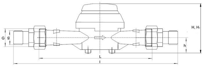 Габаритные размеры счетчиков воды ВСХН-, ВСГН-25,-32,-40