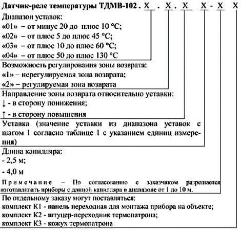 Форма. Реле температуры ТДМВ-102