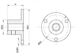 термометр ТБП исполнение с фланцем для крепления на 3 отверстия