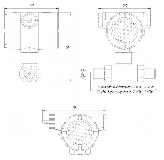 Габаритные размеры преобразователей разности давления ЗОНД-10ДД-1172Т
