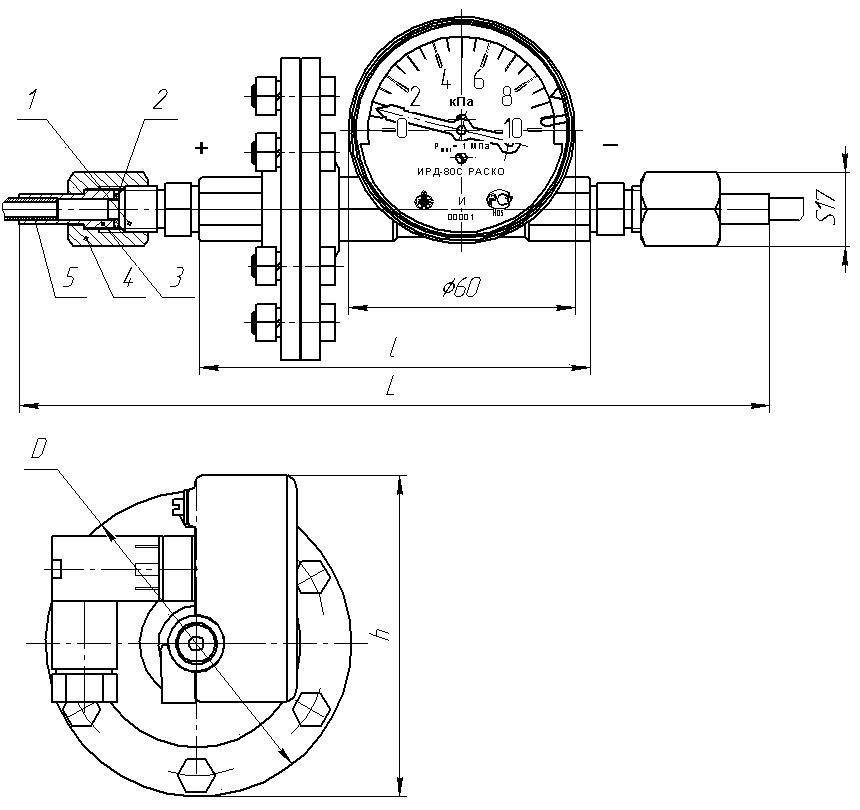 ИРД-80-РАСКО индикатор разности давлений габариты