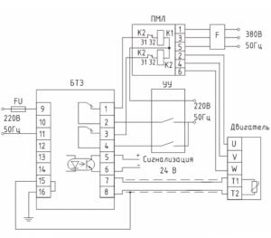 БТЗ-3 схема соединения при контактном управлении
