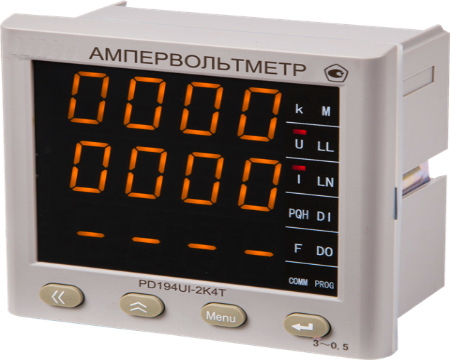 Ампервольтметр трехканальный PD194UI 120х120 мм