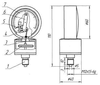 Манометр ДМГ-60 габаритные и присоединительные размеры